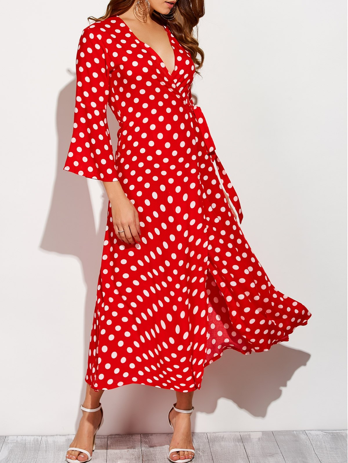 Polka Dot Maxi Christmas Wrap DressClothes<br><br><br>Size: XL<br>Color: RED WITH WHITE