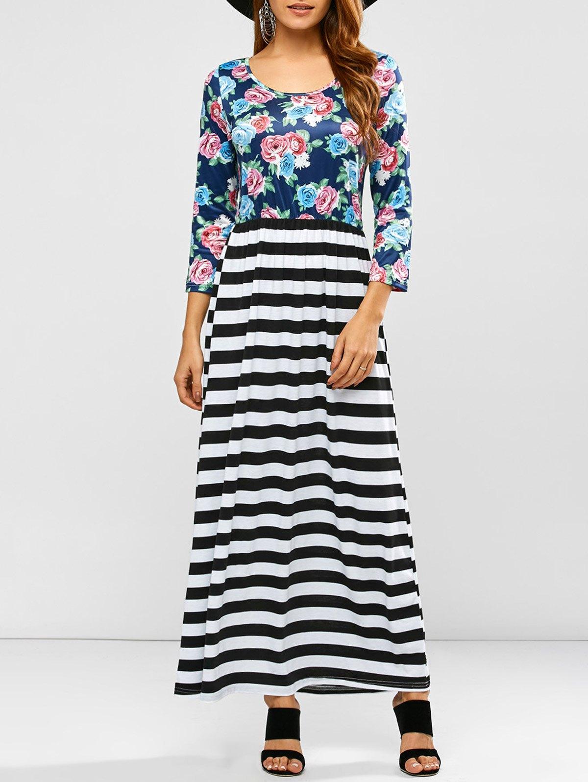 Floral Stripe Print Maxi Dress, Colormix