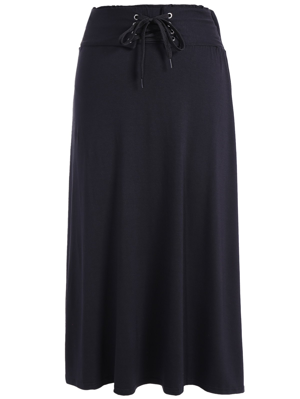 Lace-Up Maxi SkirtClothes<br><br><br>Size: ONE SIZE<br>Color: BLACK
