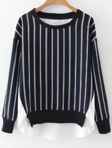 Stripes Spliced High Low Sweatshirt