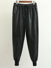 Drawstring Faux Leather Jogger Pants - Black S