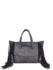 Fringe Winged PU Leather Handbag - Gray