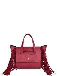 Fringe Winged PU Leather Handbag - Red