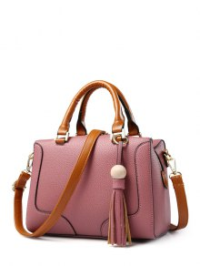 PU Leather Tassel Wood Ball Handbag - Pink