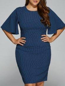 Polka Dot Bodycon Plus Size Dress - Purplish Blue