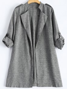 Plus Size Trench Coat - Gray 4xl