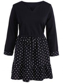 Plus Size Polka Dot Splicing Dress - Black 2xl