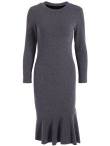 Mermaid Sweater Dress - Deep Gray L