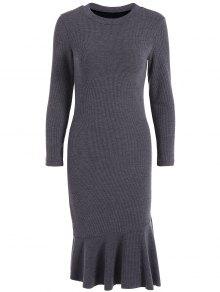 Mermaid Sweater Dress - Deep Gray L