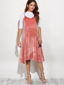 Loose Velvet Midi Dress - PINK ONE SIZE