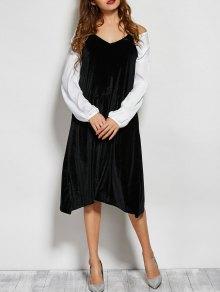 Loose Velvet Midi Dress - Black