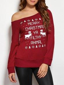Reindeer Snowflake Sweatshirt De Noël - Rouge Vineux