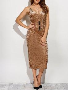 Back Slit Velvet Cami Pencil Dress - Khaki M
