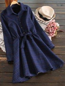 Fleece Lining Plaid Shirt Dress - Deep Blue