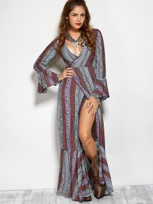 Printed High Slit Crossover Ruffle Bohemian Dress