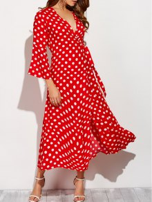 Maxi Wrap Red Polka Dot Dress