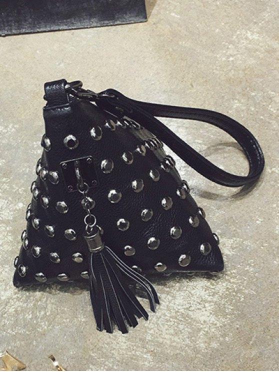 Rivet Tassel Triangle Shaped Wristlet - BLACK  Mobile