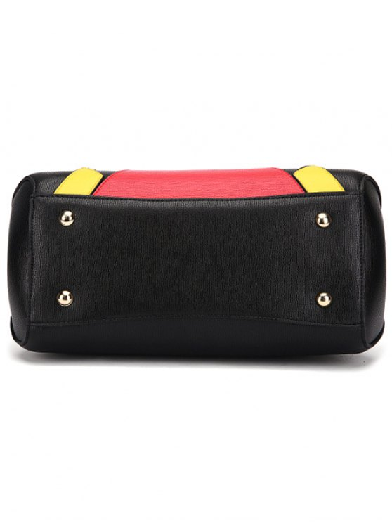 Metal PU Leather Color Blocking Tote - RED  Mobile