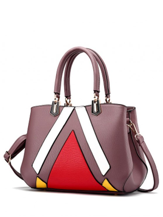 womens Metal PU Leather Color Blocking Tote - PURPLE