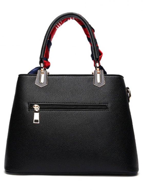 Geometric Pattern Scarves PU Leather Handbag - BLACK  Mobile