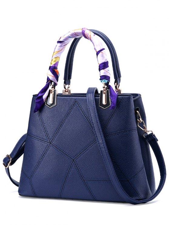 trendy Geometric Pattern Scarves PU Leather Handbag - SAPPHIRE BLUE