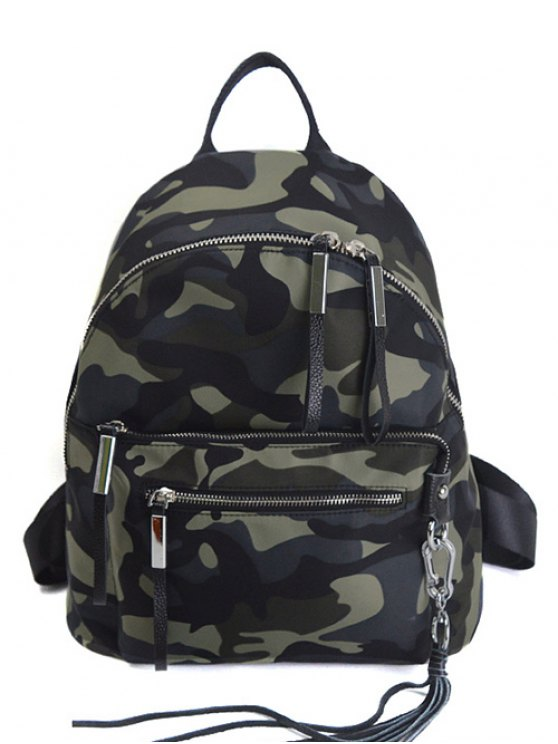 trendy Camouflage Pattern Tassels Splicing Backpack - CAMOUFLAGE