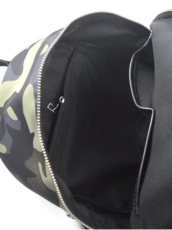 Camouflage Pattern Tassels Splicing Backpack - CAMOUFLAGE  Mobile