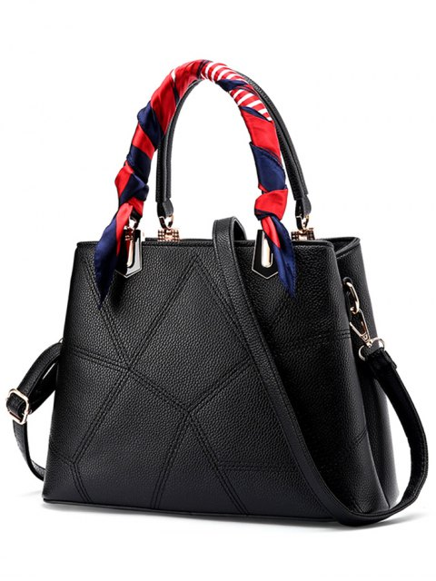 latest Geometric Pattern Scarves PU Leather Handbag - BLACK  Mobile