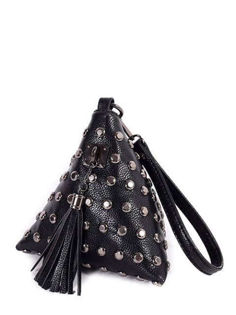 women's Rivet Tassel Triangle Shaped Wristlet - BLACK  Mobile