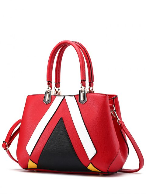 sale Metal PU Leather Color Blocking Tote - RED  Mobile