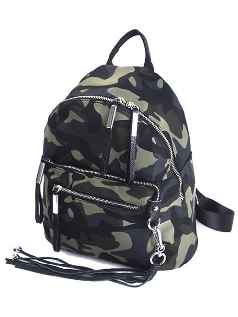 trendy Camouflage Pattern Tassels Splicing Backpack - CAMOUFLAGE  Mobile