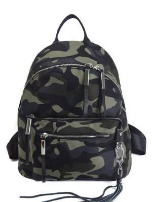Camouflage Pattern Tassels Splicing Backpack - Camouflage