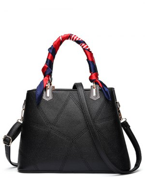 Geometric Pattern Scarves PU Leather Handbag - Black