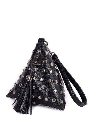 Rivet Tassel Triangle Wristlet En Forme - Noir