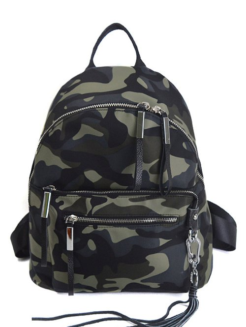 Camouflage Pattern Tassels Splicing Backpack