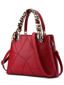 Geometric Pattern Scarves PU Leather Handbag - Wine Red