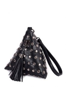 Rivet Tassel Triangle Shaped Wristlet