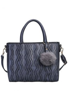 Wavy Stripe Pattern Metal Stitching Tote Bag - Deep Gray
