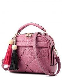 Geometric Pattern Stitching Tassels Crossbody Bag - Pink