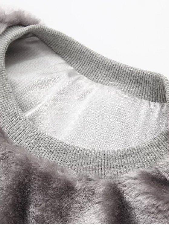 Faux Fur Sherpa Sweatshirt - WHITE ONE SIZE Mobile