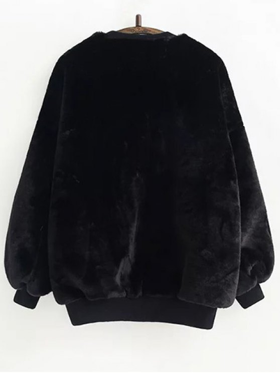 Faux Fur Sherpa Sweatshirt - BLACK ONE SIZE Mobile
