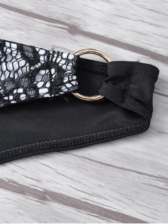 Steel Ring Halter Lace Bra Set - BLACK M Mobile