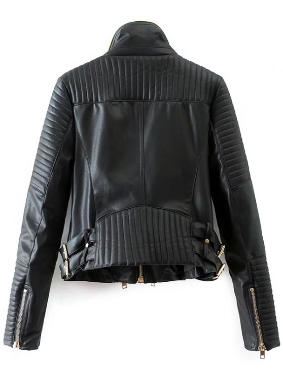 Zip and Buckle Design Faux Leather Jacket - BLACK S Mobile