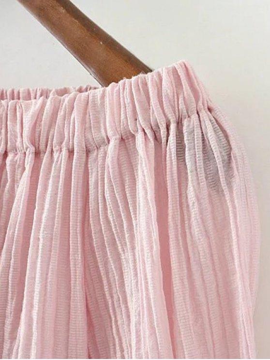 Lace Spliced Off The Shoulder Blouse - PINK L Mobile