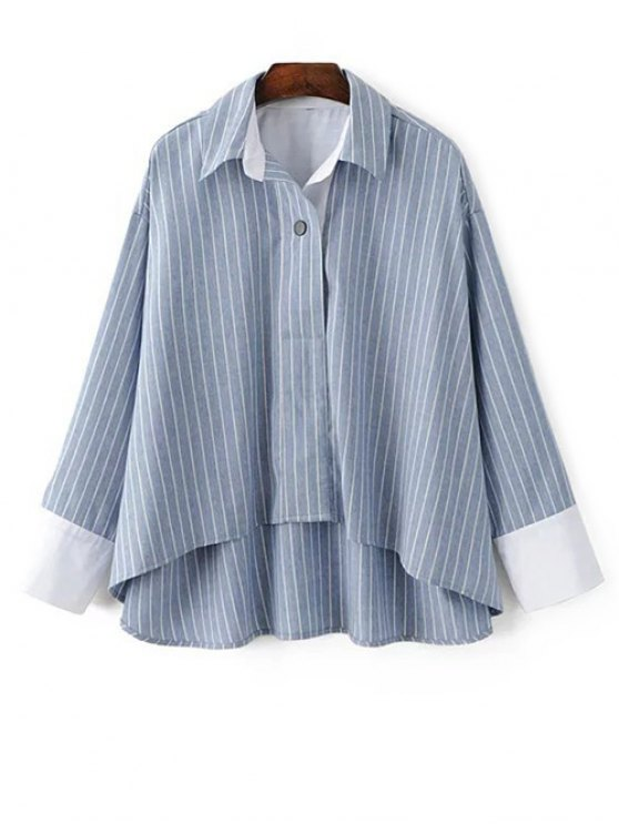 Striped High-Low Blouse - LIGHT BLUE M Mobile