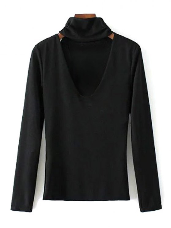 Turtle Neck Knitwear - BLACK L Mobile