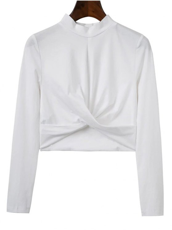 Cropped High Collar T-Shirt - WHITE L Mobile