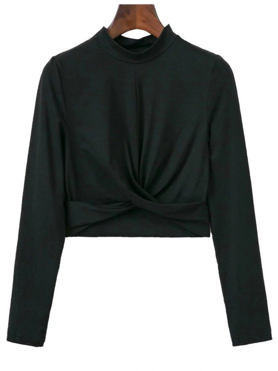 hot Cropped High Collar T-Shirt - BLACK S