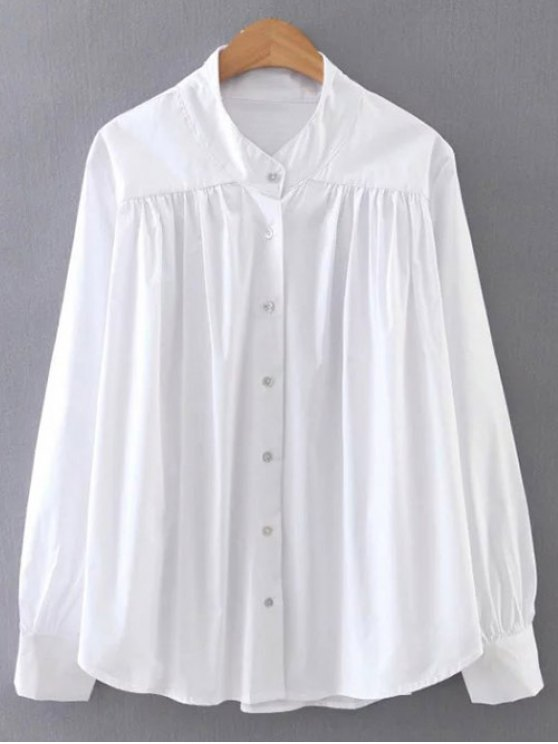 Pleated Stand Neck Shirt - WHITE L Mobile