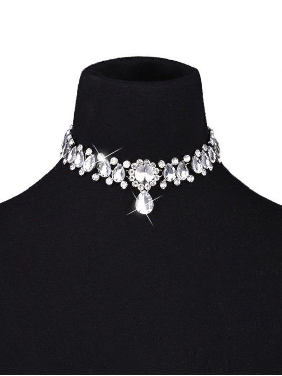 ladies Artificial Gemstone Water Drop Choker Necklace - WHITE